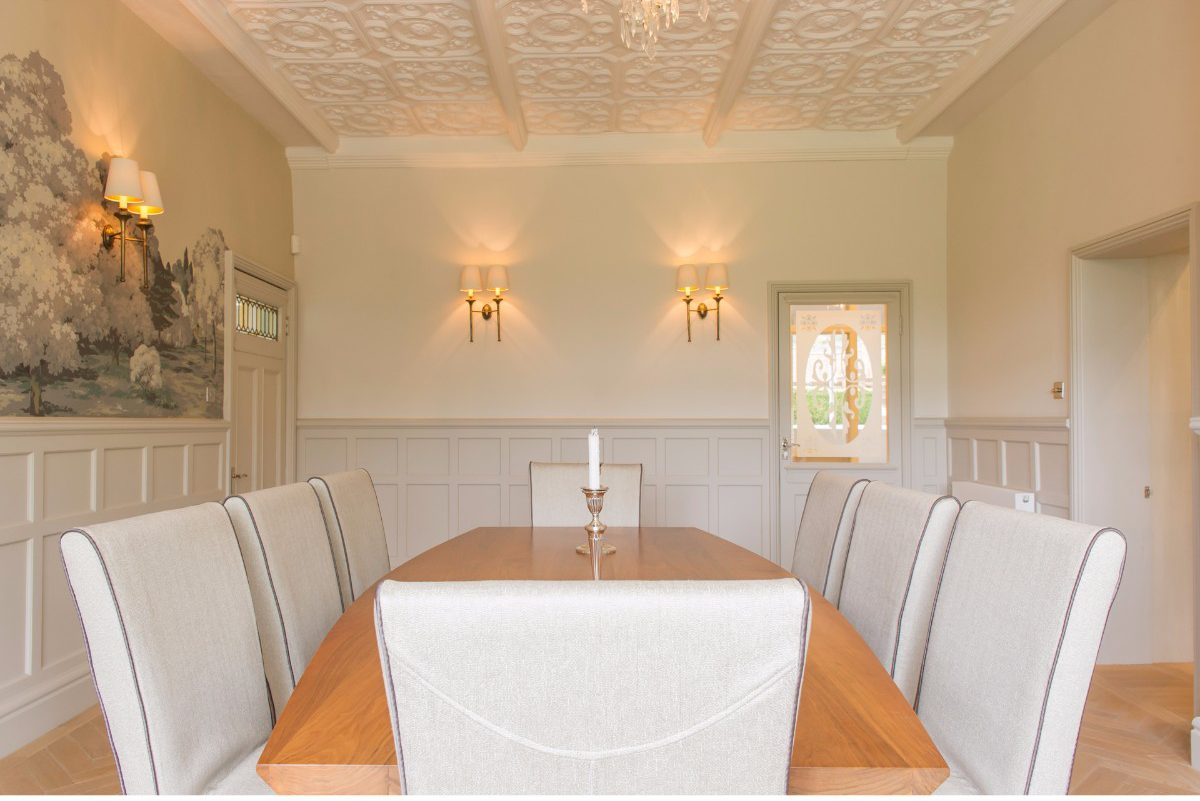 subtle lighting. Light And Airy Dining Room, Subtle Lighting Stunning Hand Painted Wall Mural.