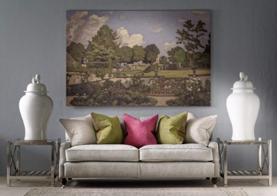 Montague Sofa upholstered in Paraggi Muscari with scatters in Summit Linen, Palazzo Moss and Parasol with Horatio Side Tables